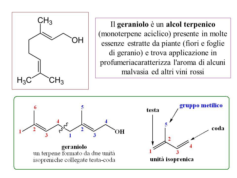Il geraniolo è un alcol terpenico (monoterpene aciclico) presente in molte essenze estratte da piante (fiori e foglie di geranio) e trova applicazione