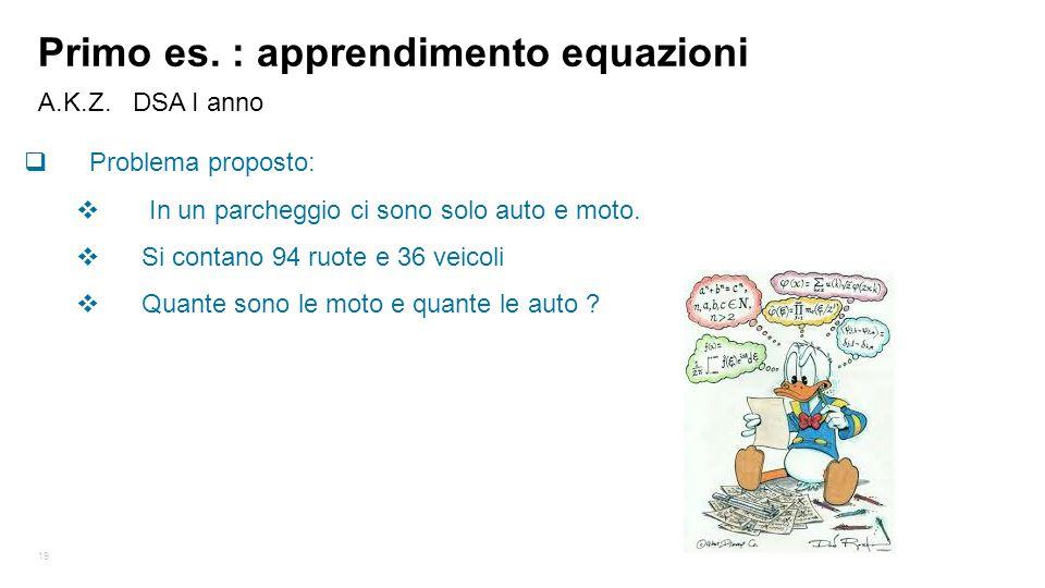 19 A.K.Z. DSA I anno Primo es. : apprendimento equazioni  Problema proposto:  In un parcheggio ci sono solo auto e moto.  Si contano 94 ruote e 36
