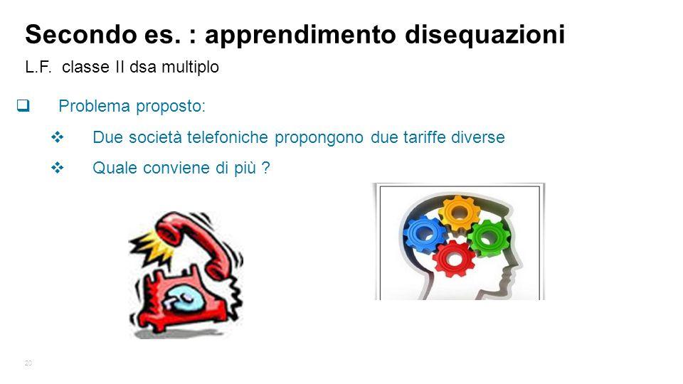 20 L.F. classe II dsa multiplo Secondo es. : apprendimento disequazioni  Problema proposto:  Due società telefoniche propongono due tariffe diverse