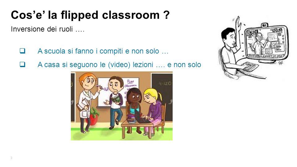3 Inversione dei ruoli …. Cos'e' la flipped classroom ?  A scuola si fanno i compiti e non solo …  A casa si seguono le (video) lezioni …. e non sol