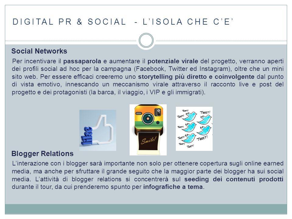 DIGITAL PR & SOCIAL - L'ISOLA CHE C'E' Social Networks Per incentivare il passaparola e aumentare il potenziale virale del progetto, verranno aperti d