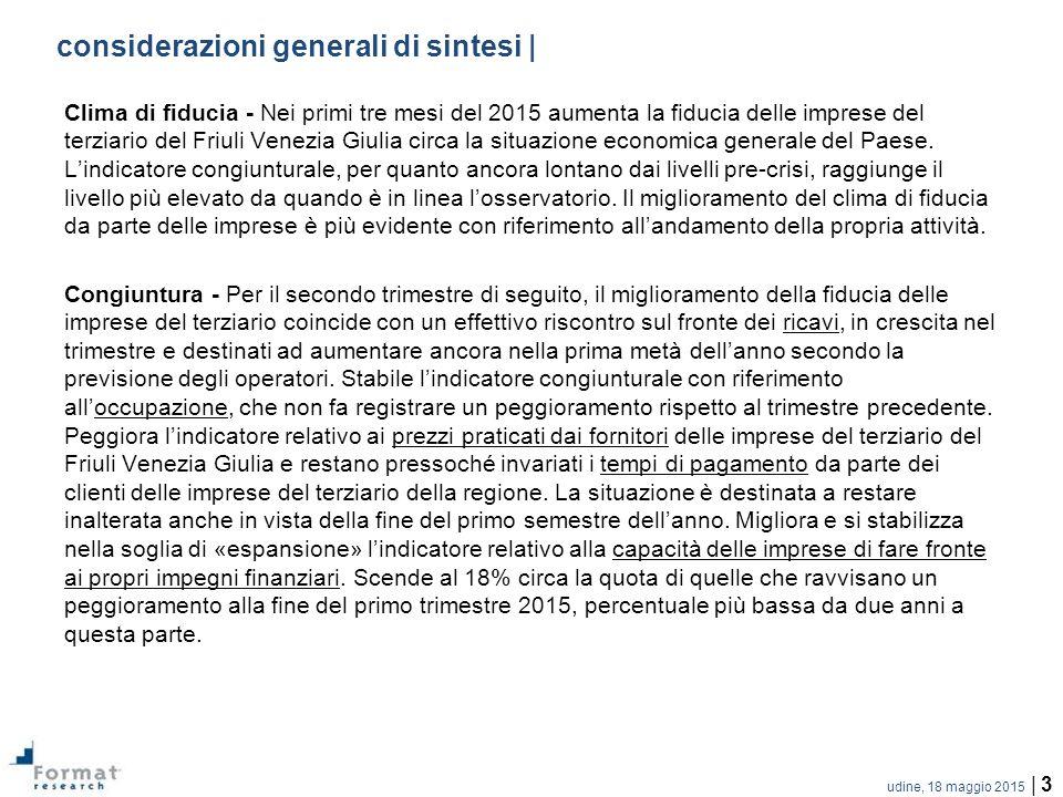 udine, 18 maggio 2015 | 3 considerazioni generali di sintesi | Clima di fiducia - Nei primi tre mesi del 2015 aumenta la fiducia delle imprese del terziario del Friuli Venezia Giulia circa la situazione economica generale del Paese.