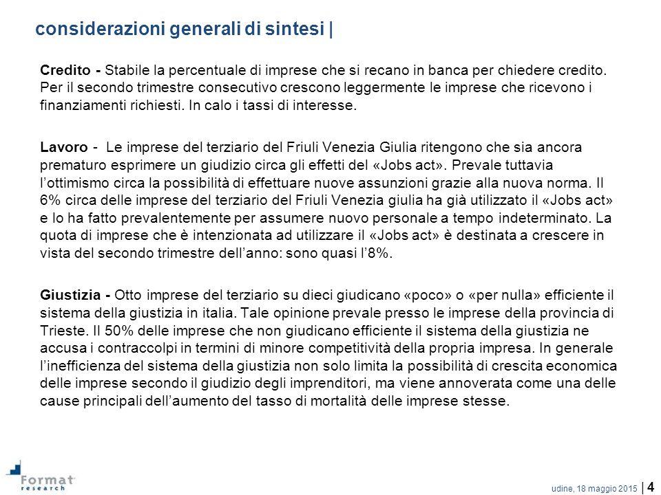 udine, 18 maggio 2015 | 4 considerazioni generali di sintesi | Credito - Stabile la percentuale di imprese che si recano in banca per chiedere credito.