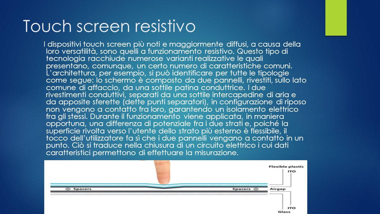 Il Touch screen capacitivo Il principio di funzionamento è il seguente: ai quattro angoli della lamina di ossido conduttivo viene applicata una tensio