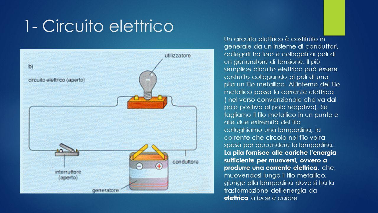 1- Circuito elettrico Un circuito elettrico è costituito in generale da un insieme di conduttori, collegati tra loro e collegati ai poli di un generatore di tensione.