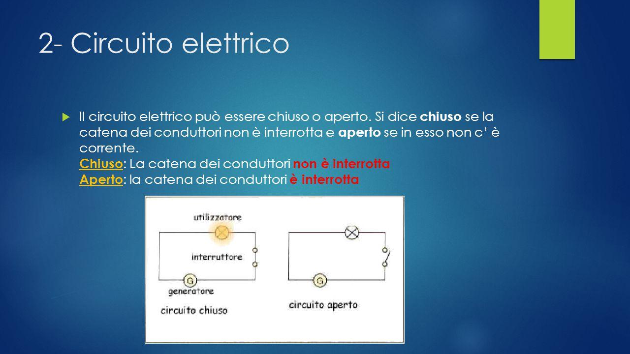 1- Circuito elettrico Un circuito elettrico è costituito in generale da un insieme di conduttori, collegati tra loro e collegati ai poli di un generat