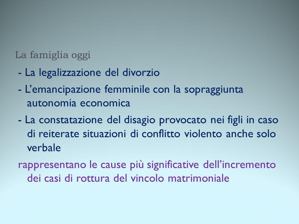 La famiglia oggi - La legalizzazione del divorzio - L'emancipazione femminile con la sopraggiunta autonomia economica - La constatazione del disagio p