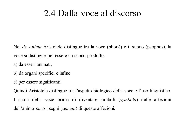 2.4 Dalla voce al discorso Nel de Anima Aristotele distingue tra la voce (phonè) e il suono (psophos), la voce si distingue per essere un suono prodot