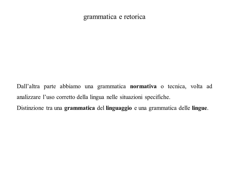 grammatica e retorica Dall'altra parte abbiamo una grammatica normativa o tecnica, volta ad analizzare l'uso corretto della lingua nelle situazioni sp