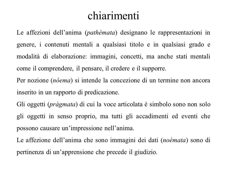 chiarimenti Le affezioni dell'anima (pathèmata) designano le rappresentazioni in genere, i contenuti mentali a qualsiasi titolo e in qualsiasi grado e