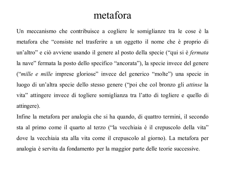 """metafora Un meccanismo che contribuisce a cogliere le somiglianze tra le cose è la metafora che """"consiste nel trasferire a un oggetto il nome che è pr"""