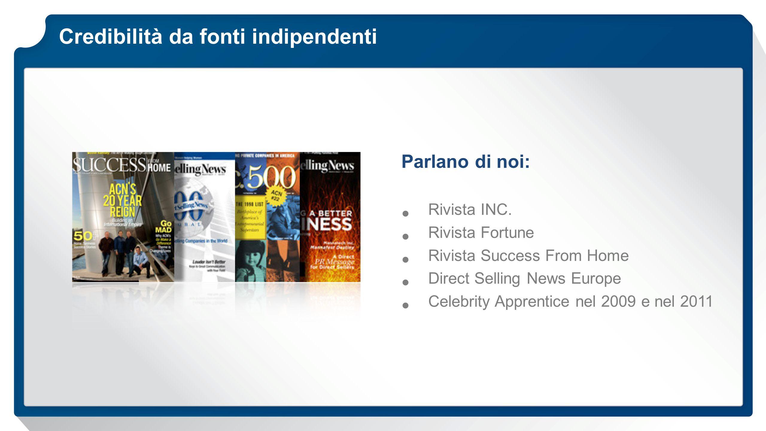 Credibilità da fonti indipendenti Parlano di noi: Rivista INC.