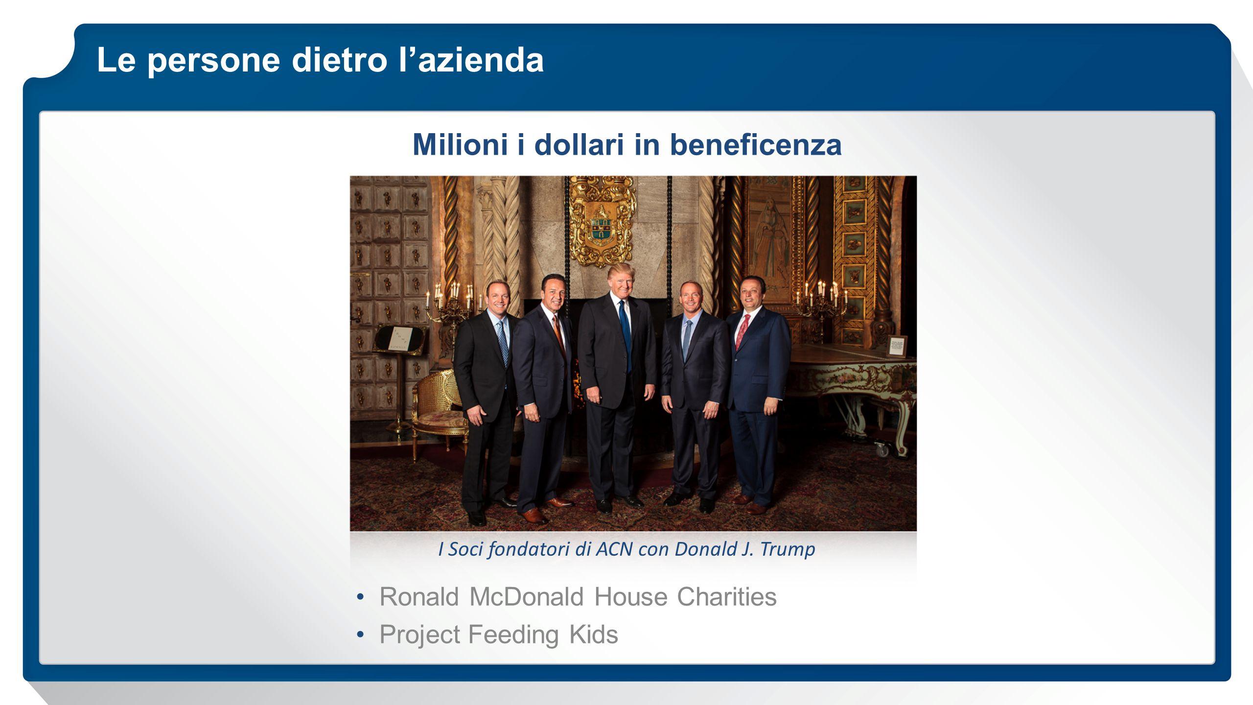Le persone dietro l'azienda Ronald McDonald House Charities Project Feeding Kids Milioni i dollari in beneficenza I Soci fondatori di ACN con Donald J.