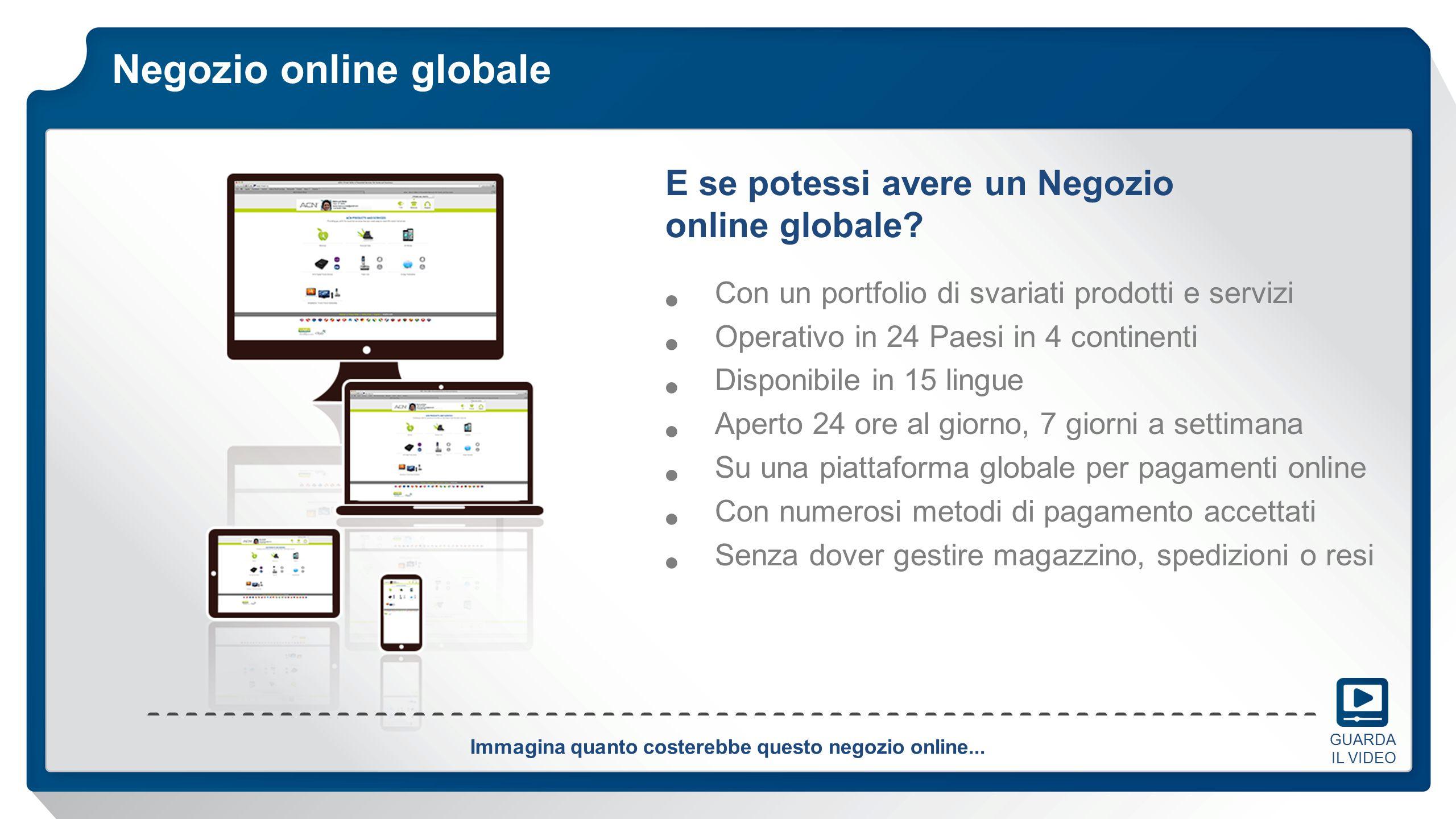 Negozio online globale Con un portfolio di svariati prodotti e servizi Operativo in 24 Paesi in 4 continenti Disponibile in 15 lingue Aperto 24 ore al