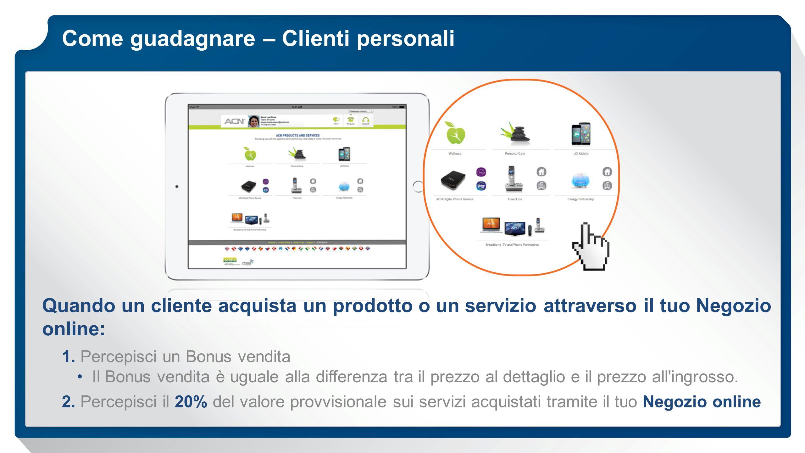 Come guadagnare – Clienti personali Quando un cliente acquista un prodotto o un servizio attraverso il tuo Negozio online: 1. Percepisci un Bonus vend