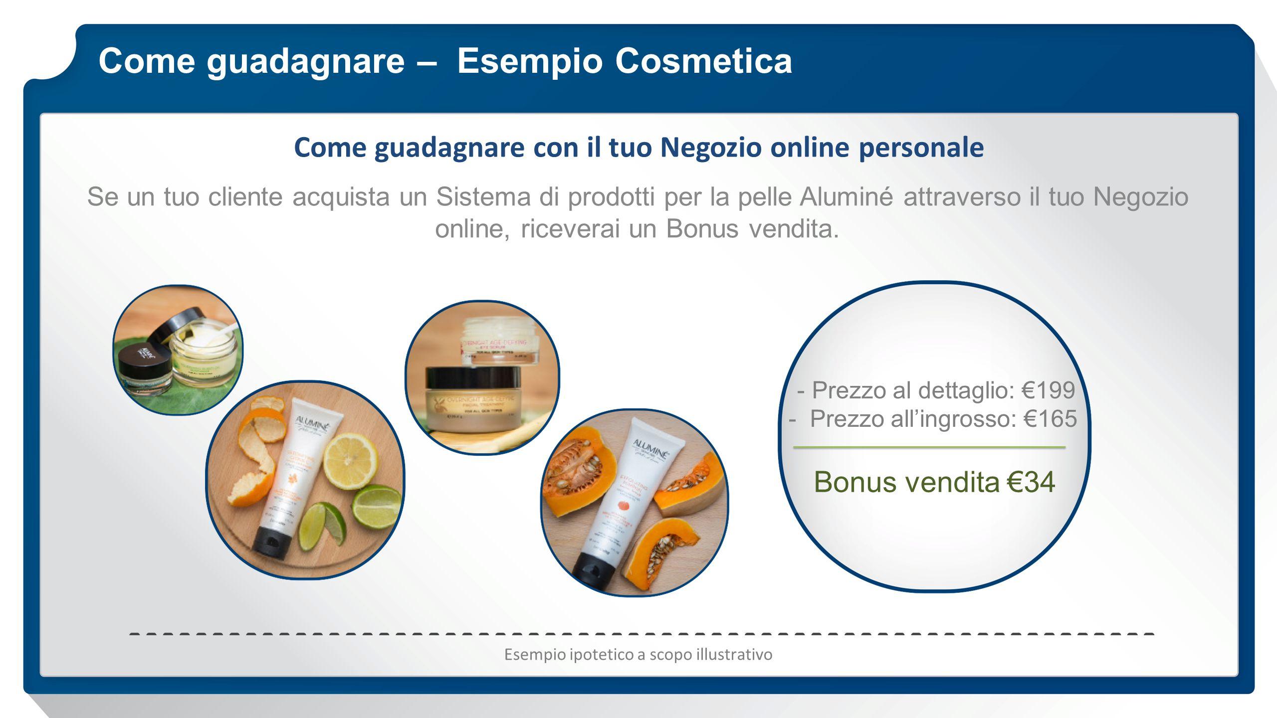 Come guadagnare – Esempio Cosmetica Come guadagnare con il tuo Negozio online personale Se un tuo cliente acquista un Sistema di prodotti per la pelle Aluminé attraverso il tuo Negozio online, riceverai un Bonus vendita.