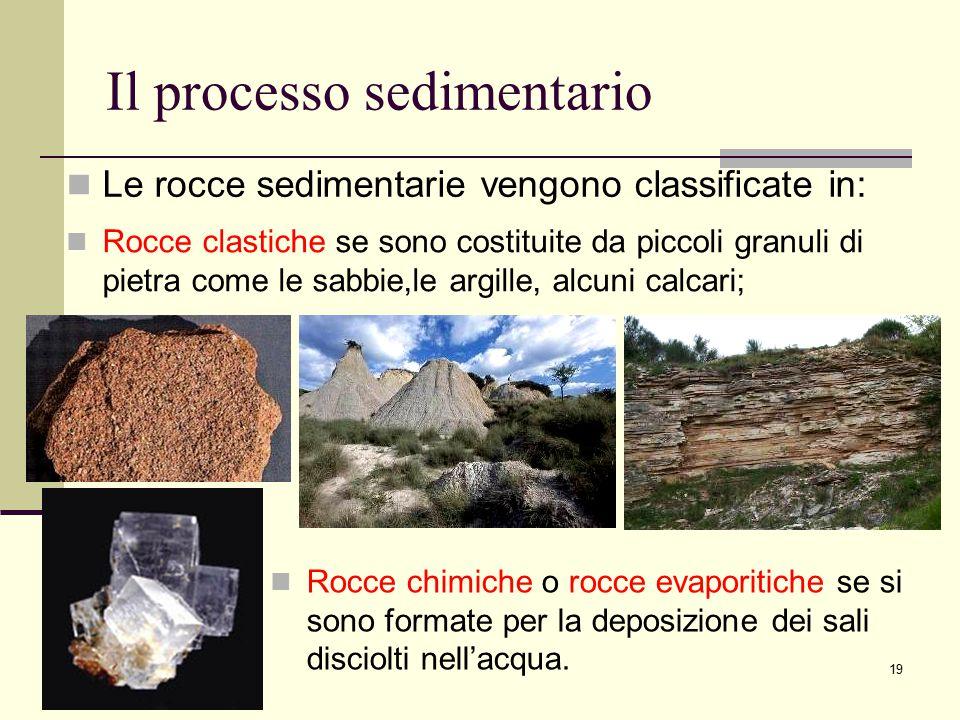 19 Il processo sedimentario Le rocce sedimentarie vengono classificate in: Rocce clastiche se sono costituite da piccoli granuli di pietra come le sab
