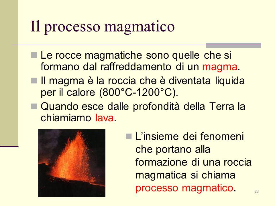 23 Il processo magmatico Le rocce magmatiche sono quelle che si formano dal raffreddamento di un magma. Il magma è la roccia che è diventata liquida p
