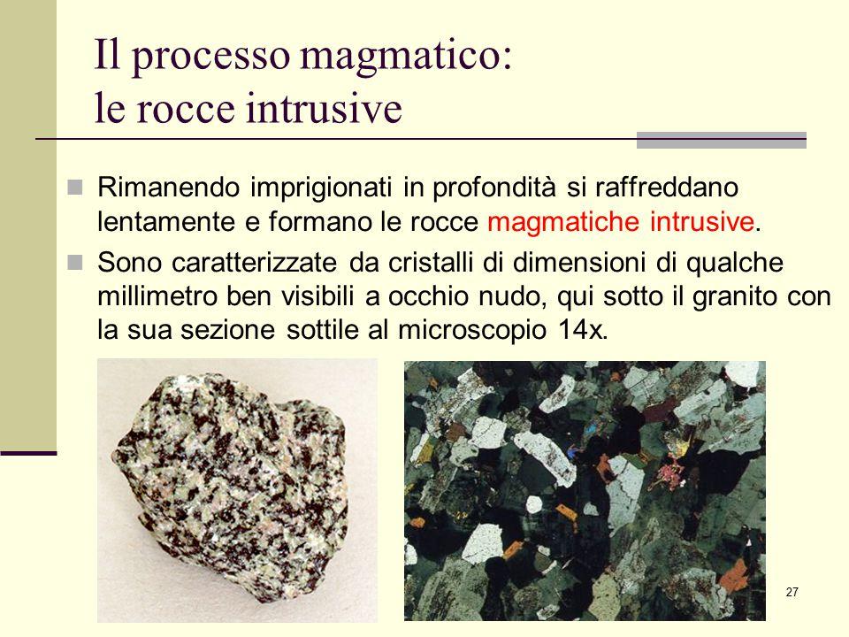 27 Il processo magmatico: le rocce intrusive Rimanendo imprigionati in profondità si raffreddano lentamente e formano le rocce magmatiche intrusive. S