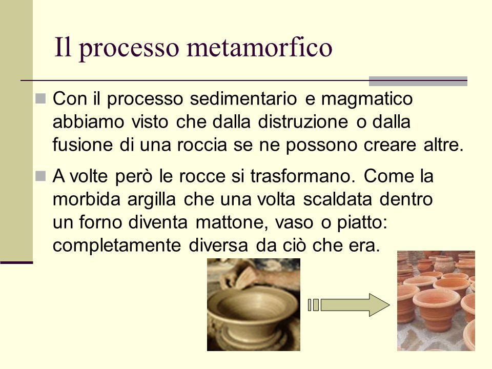 33 Il processo metamorfico Con il processo sedimentario e magmatico abbiamo visto che dalla distruzione o dalla fusione di una roccia se ne possono cr
