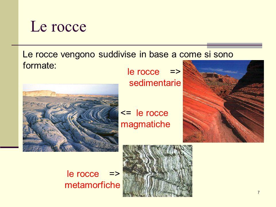 8 Il processo sedimentario Le rocce sedimentarie sono rocce costituite da materiali provenienti dalla disgregazione di rocce preesistenti, si formano attraverso una serie di azioni che assumono il nome di processo sedimentario Roccia preesistente alterazione trasporto deposizione diagenesi Roccia sedimentaria