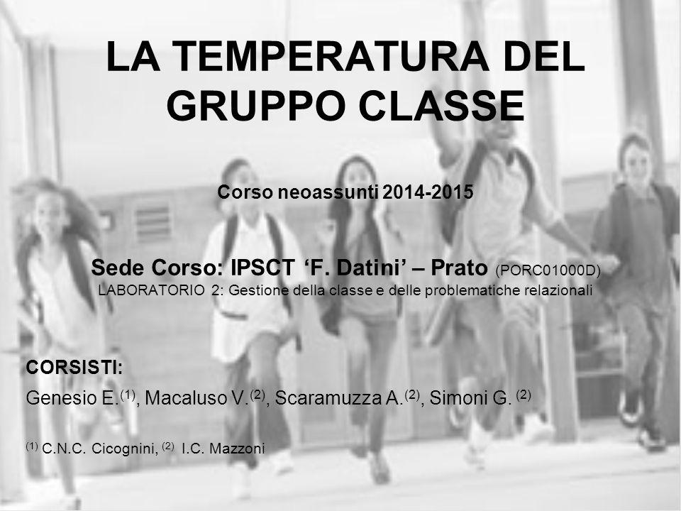 LA TEMPERATURA DEL GRUPPO CLASSE Corso neoassunti 2014-2015 Sede Corso: IPSCT 'F. Datini' – Prato (PORC01000D) LABORATORIO 2: Gestione della classe e