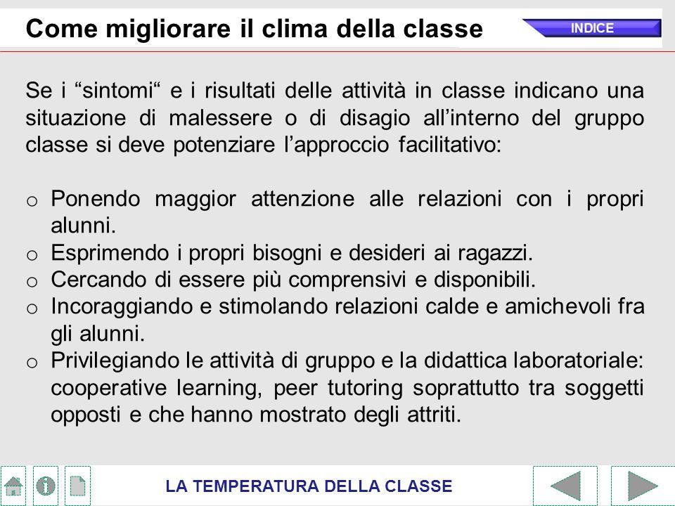 """LA TEMPERATURA DELLA CLASSE Come migliorare il clima della classe Se i """"sintomi"""" e i risultati delle attività in classe indicano una situazione di mal"""