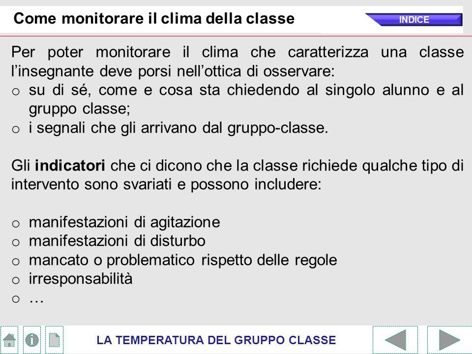 Come monitorare il clima della classe Per poter monitorare il clima che caratterizza una classe l'insegnante deve porsi nell'ottica di osservare: o su