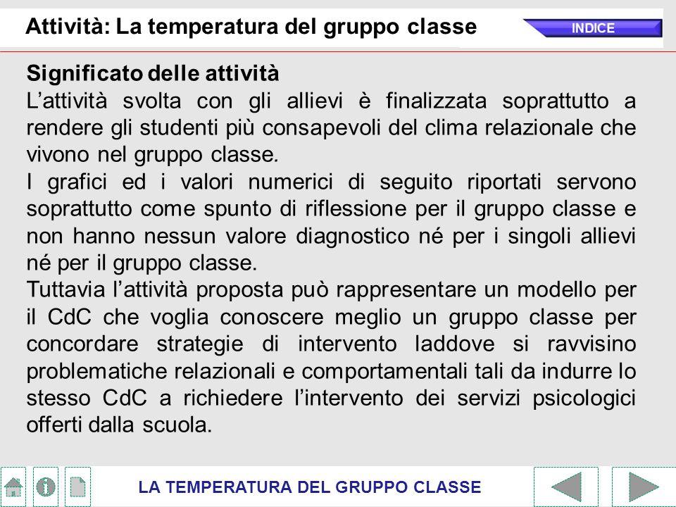 Attività: La temperatura del gruppo classe LA TEMPERATURA DEL GRUPPO CLASSE Significato delle attività L'attività svolta con gli allievi è finalizzata