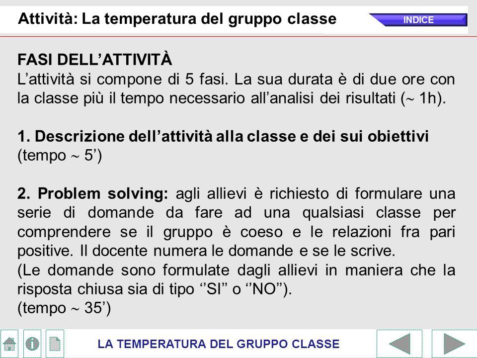 Attività: La temperatura del gruppo classe LA TEMPERATURA DEL GRUPPO CLASSE FASI DELL'ATTIVITÀ L'attività si compone di 5 fasi. La sua durata è di due