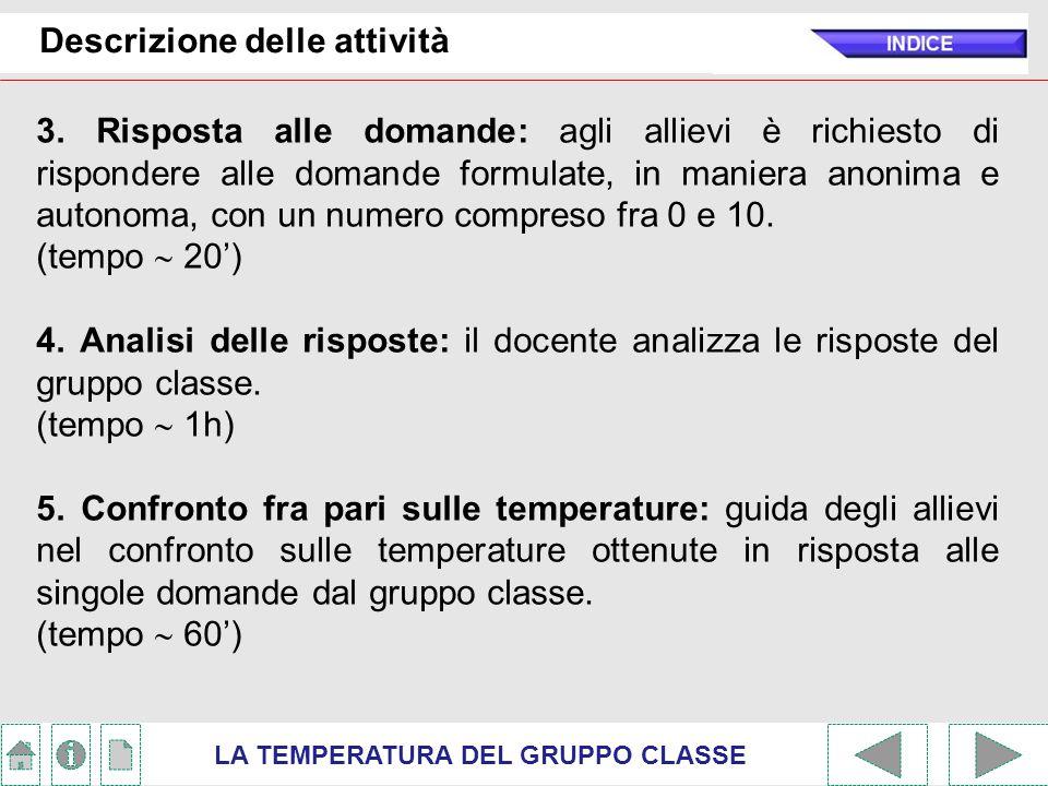 Calcolo della temperatura LA TEMPERATURA DEL GRUPPO CLASSE Il criterio scelto per determinare la temperatura di ogni risposta è stato quello di fare riferimento a quanto sintetizzato in due grafici.