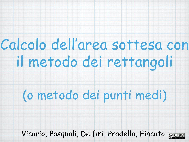Calcolo dell'area sottesa con il metodo dei rettangoli (o metodo dei punti medi) Vicario, Pasquali, Delfini, Pradella, Fincato
