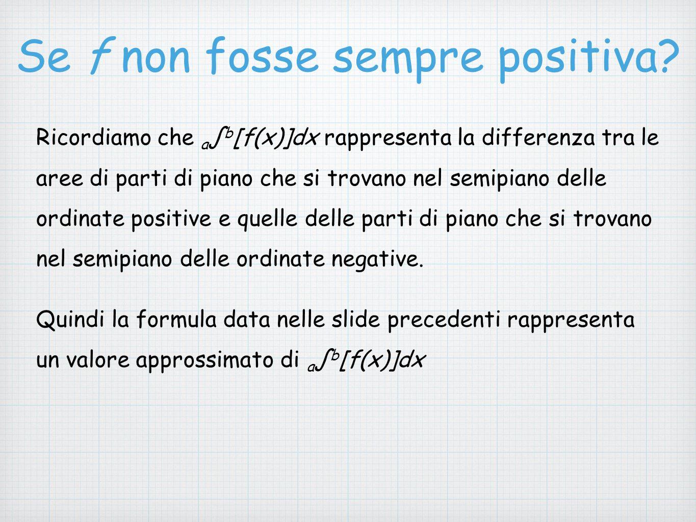 Se f non fosse sempre positiva? Ricordiamo che a ∫ b [f(x)]dx rappresenta la differenza tra le aree di parti di piano che si trovano nel semipiano del