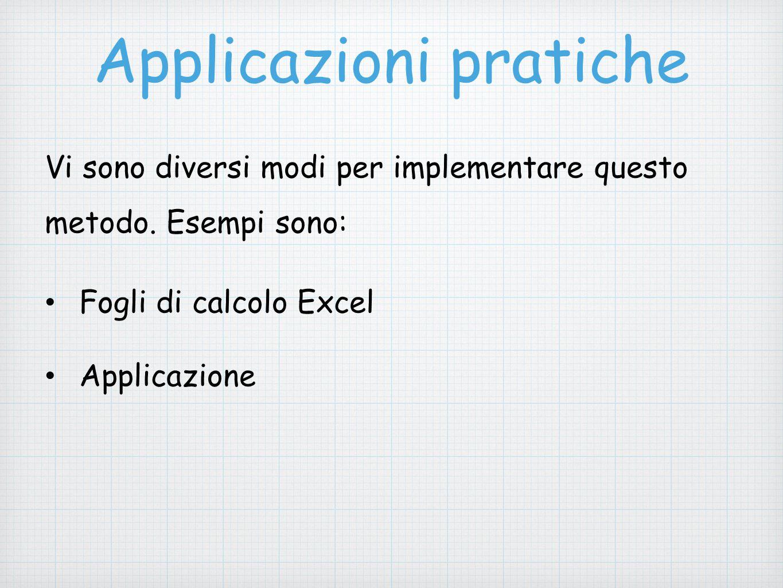 Applicazioni pratiche Vi sono diversi modi per implementare questo metodo. Esempi sono: Fogli di calcolo Excel Applicazione