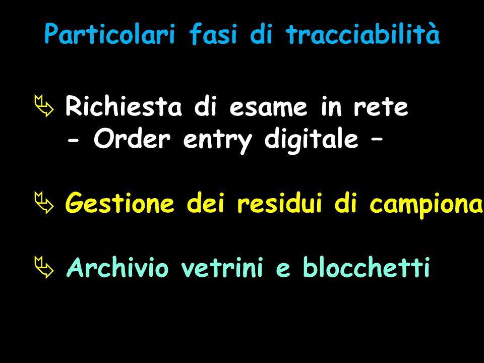  Richiesta di esame in rete - Order entry digitale –  Gestione dei residui di campionamento  Archivio vetrini e blocchetti Particolari fasi di trac
