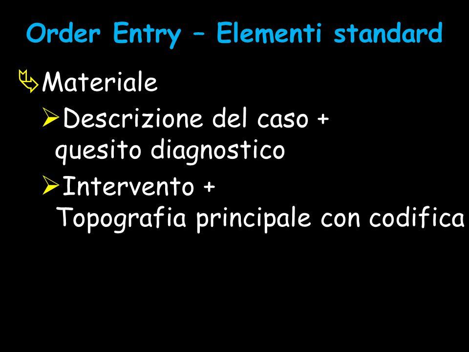 Order Entry – Elementi standard  Materiale  Descrizione del caso + quesito diagnostico  Intervento + Topografia principale con codifica standard (
