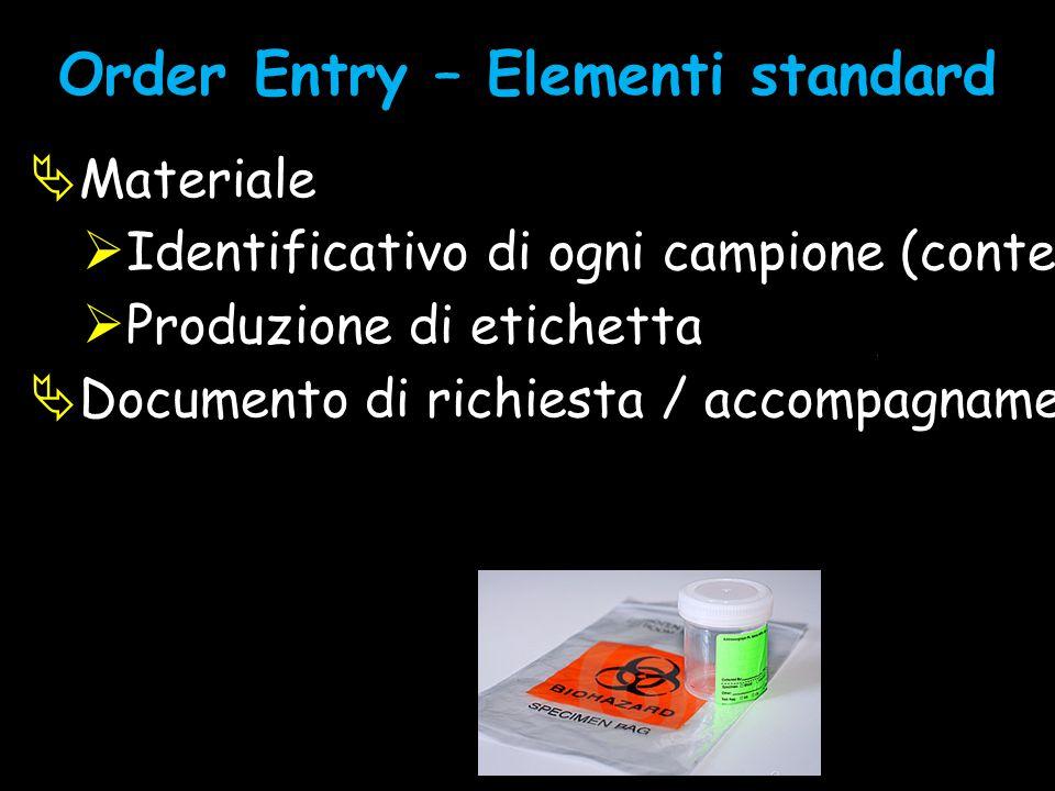 Order Entry – Elementi standard  Materiale  Identificativo di ogni campione (contenitore di I livello -> sede)  Produzione di etichetta  Documento