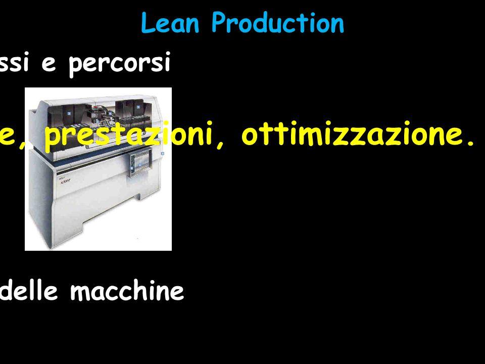 Lean Production Impostazione delle macchine Posizione, prestazioni, ottimizzazione. Analisi di flussi e percorsi
