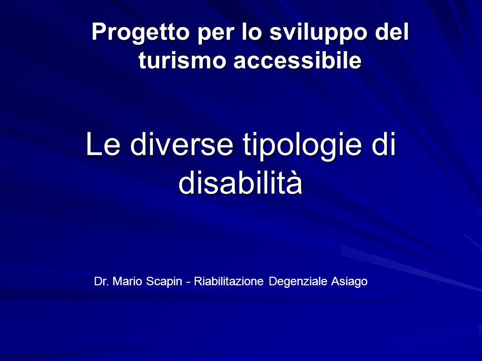 Le diverse tipologie di disabilità Progetto per lo sviluppo del turismo accessibile Dr. Mario Scapin - Riabilitazione Degenziale Asiago