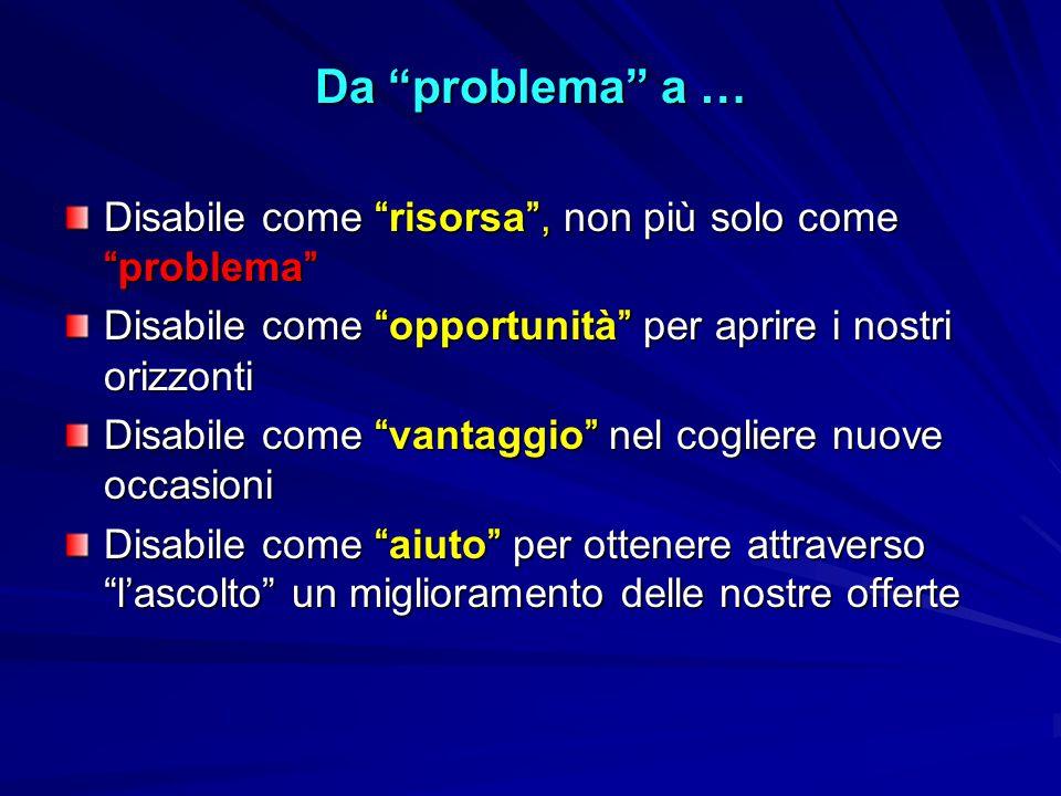 """Da """"problema"""" a … Disabile come """"risorsa"""", non più solo come """"problema"""" Disabile come """"opportunità"""" per aprire i nostri orizzonti Disabile come """"vanta"""