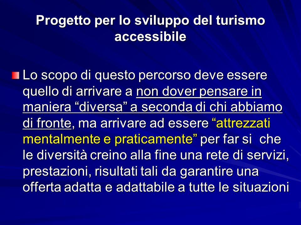 """Progetto per lo sviluppo del turismo accessibile Lo scopo di questo percorso deve essere quello di arrivare a non dover pensare in maniera """"diversa"""" a"""