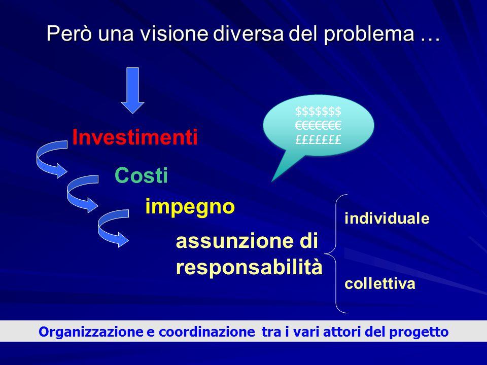 Però una visione diversa del problema … Investimenti Costi impegno assunzione di responsabilità individuale collettiva $$$$$$$ €€€€€€€ £££££££ $$$$$$$
