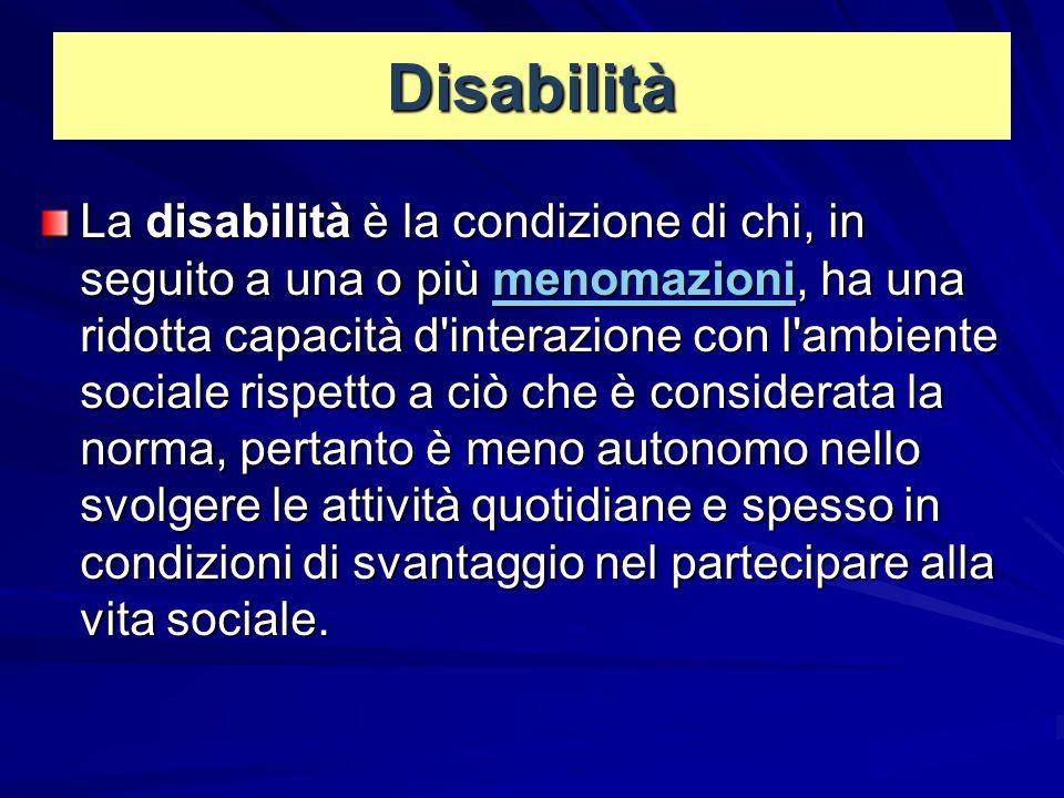 Disabilità La disabilità è la condizione di chi, in seguito a una o più menomazioni, ha una ridotta capacità d'interazione con l'ambiente sociale risp