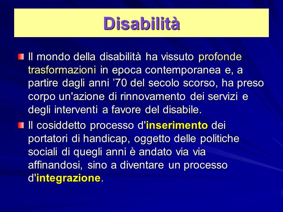 Disabilità Il mondo della disabilità ha vissuto profonde trasformazioni in epoca contemporanea e, a partire dagli anni '70 del secolo scorso, ha preso