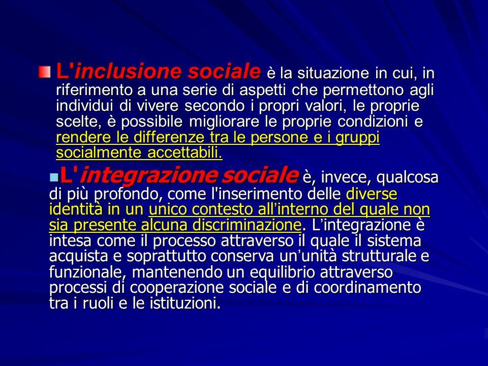 L'inclusione sociale è la situazione in cui, in riferimento a una serie di aspetti che permettono agli individui di vivere secondo i propri valori, le