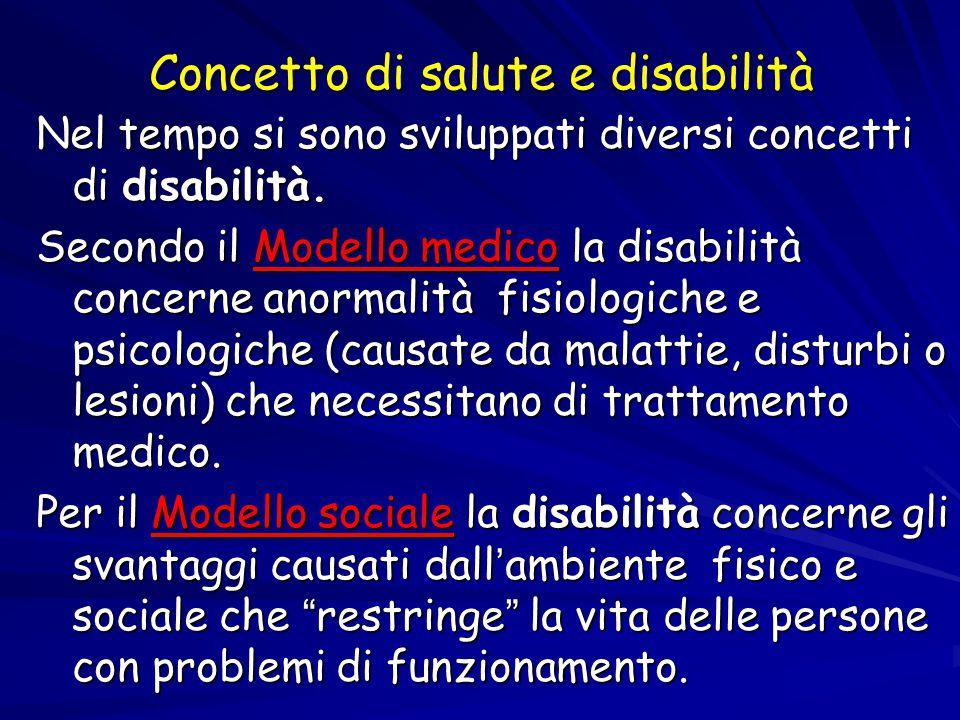 Concetto di salute e disabilità Nel tempo si sono sviluppati diversi concetti di disabilità. Secondo il Modello medico la disabilità concerne anormali