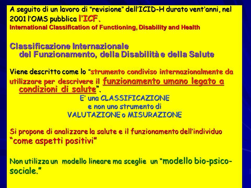 """A seguito di un lavoro di """" revisione """" dell ' ICID-H durato vent ' anni, nel 2001 l ' OMS pubblica l ' ICF. International Classification of Functioni"""