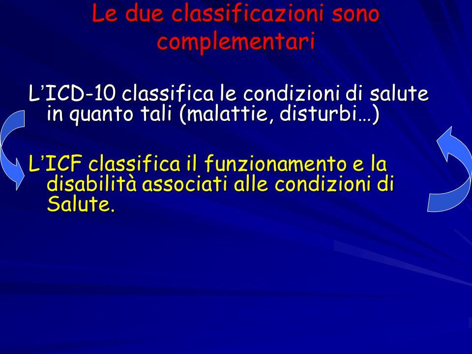 Le due classificazioni sono complementari L ' ICD-10 classifica le condizioni di salute in quanto tali (malattie, disturbi…) L ' ICF classifica il fun