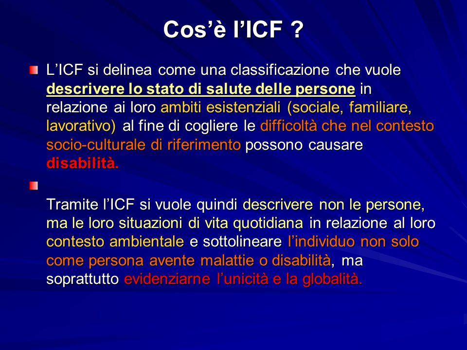 Cos'è l'ICF ? L'ICF si delinea come una classificazione che vuole descrivere lo stato di salute delle persone in relazione ai loro ambiti esistenziali