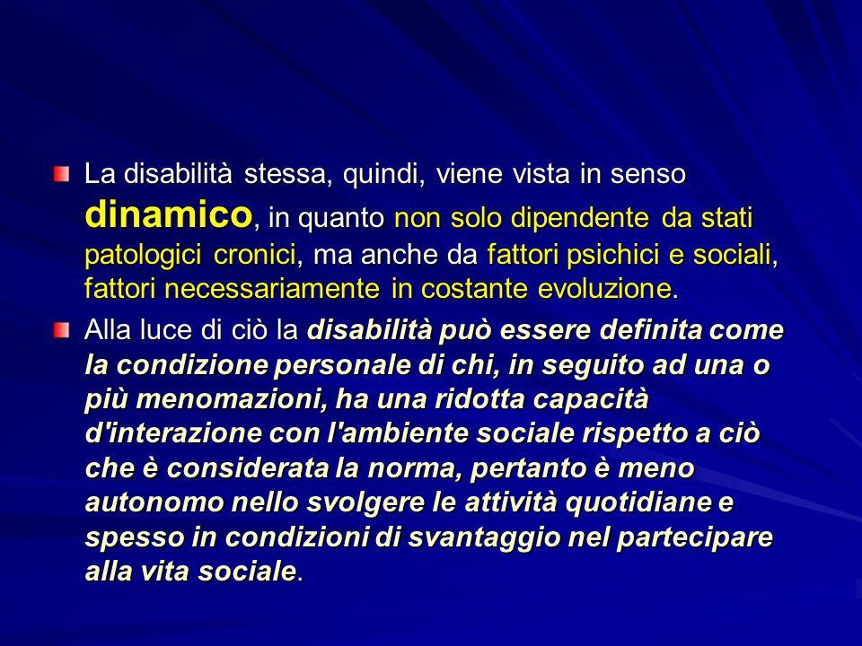 La disabilità stessa, quindi, viene vista in senso dinamico, in quanto non solo dipendente da stati patologici cronici, ma anche da fattori psichici e